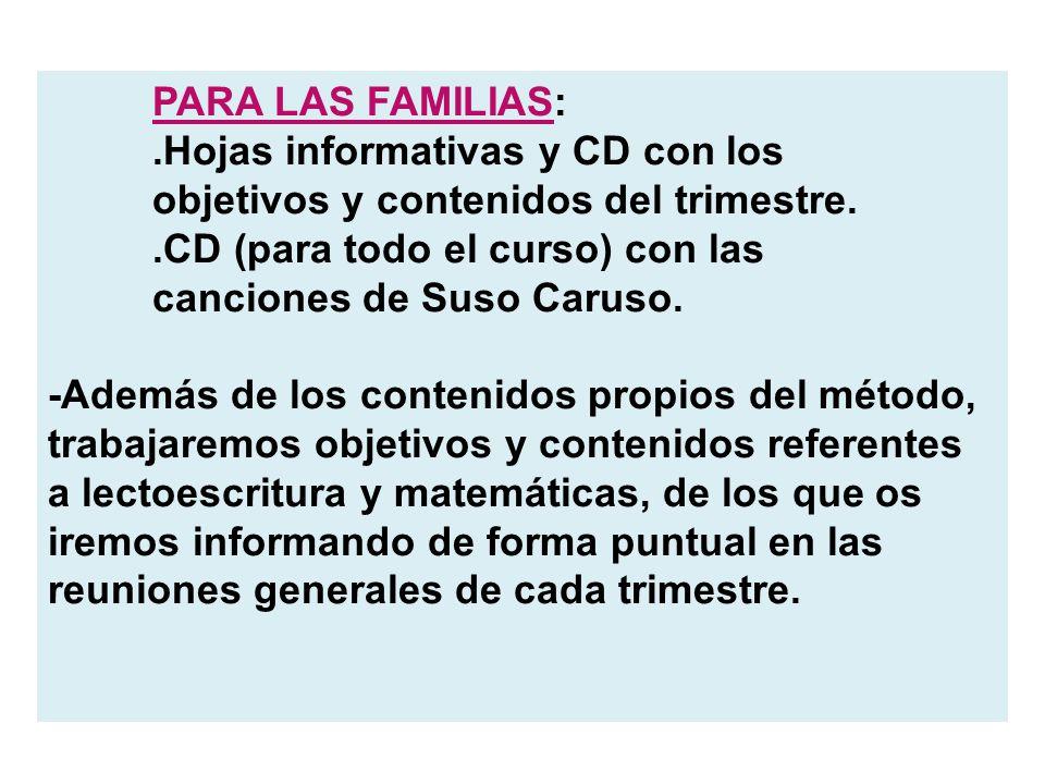 PARA LAS FAMILIAS:.Hojas informativas y CD con los objetivos y contenidos del trimestre..CD (para todo el curso) con las canciones de Suso Caruso. -Ad