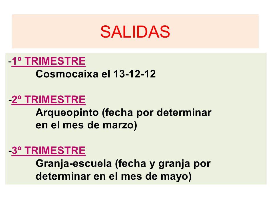 SALIDAS -1º TRIMESTRE Cosmocaixa el 13-12-12 -2º TRIMESTRE Arqueopinto (fecha por determinar en el mes de marzo) -3º TRIMESTRE Granja-escuela (fecha y