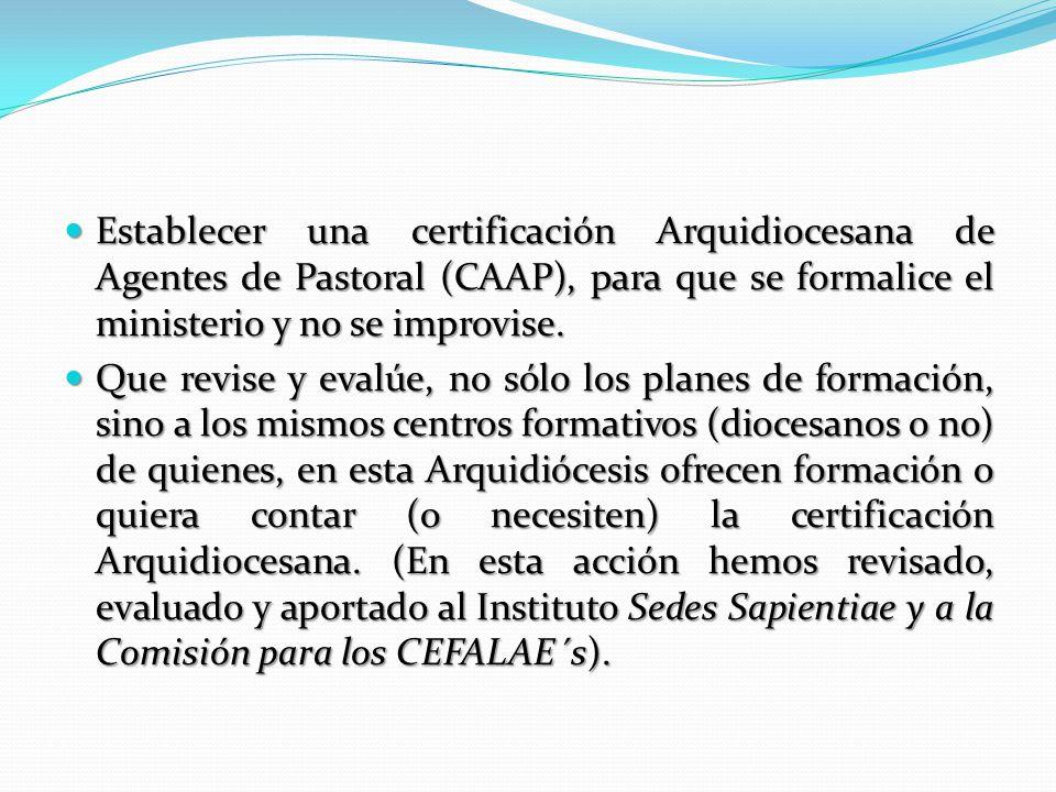 Establecer una certificación Arquidiocesana de Agentes de Pastoral (CAAP), para que se formalice el ministerio y no se improvise.