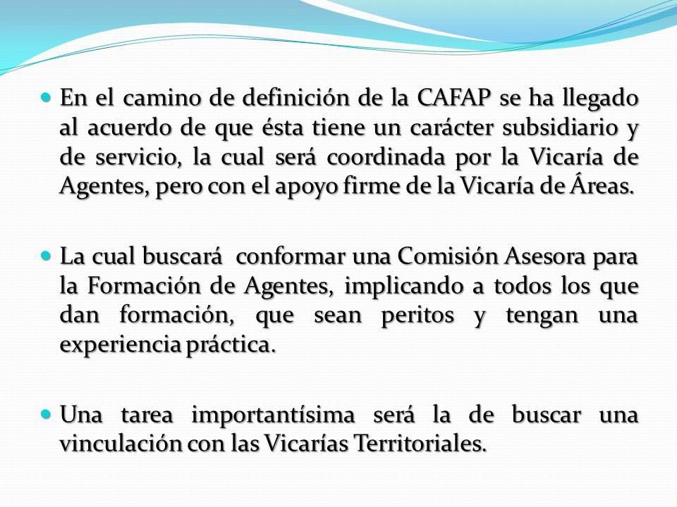 En el camino de definición de la CAFAP se ha llegado al acuerdo de que ésta tiene un carácter subsidiario y de servicio, la cual será coordinada por la Vicaría de Agentes, pero con el apoyo firme de la Vicaría de Áreas.