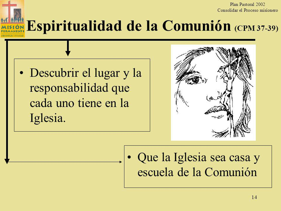 Plan Pastoral 2002 Consolidar el Proceso misionero 13 Vocación de todos los bautizados Ser Santos en la ciudad (CPM 25) Que la gente descubra el rostro de Jesús en todos los que estamos involucrados en la Misión