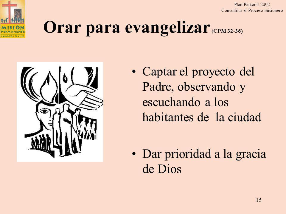 Plan Pastoral 2002 Consolidar el Proceso misionero 14 Espiritualidad de la Comunión (CPM 37-39) Descubrir el lugar y la responsabilidad que cada uno tiene en la Iglesia.