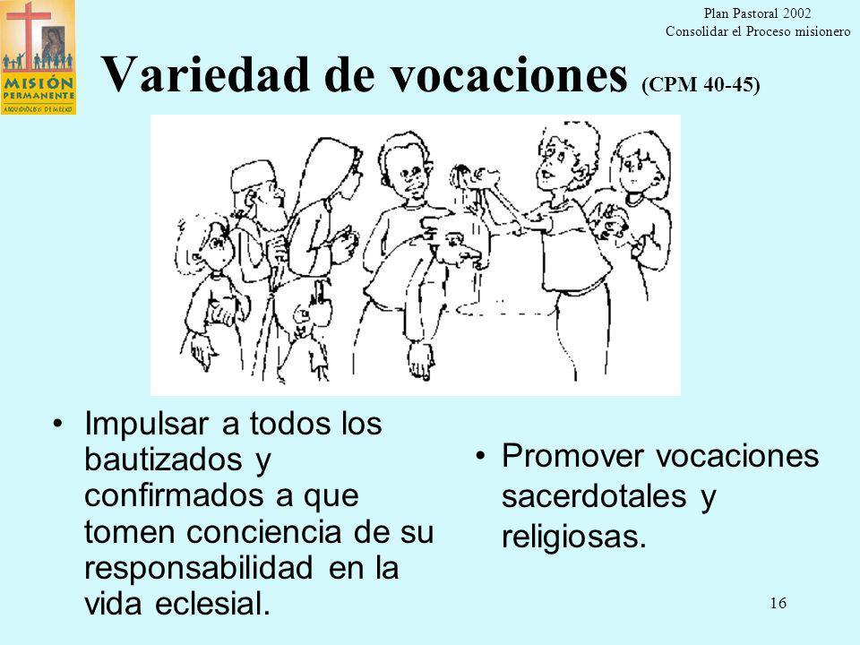 Plan Pastoral 2002 Consolidar el Proceso misionero 15 Orar para evangelizar (CPM 32-36) Captar el proyecto del Padre, observando y escuchando a los habitantes de la ciudad Dar prioridad a la gracia de Dios