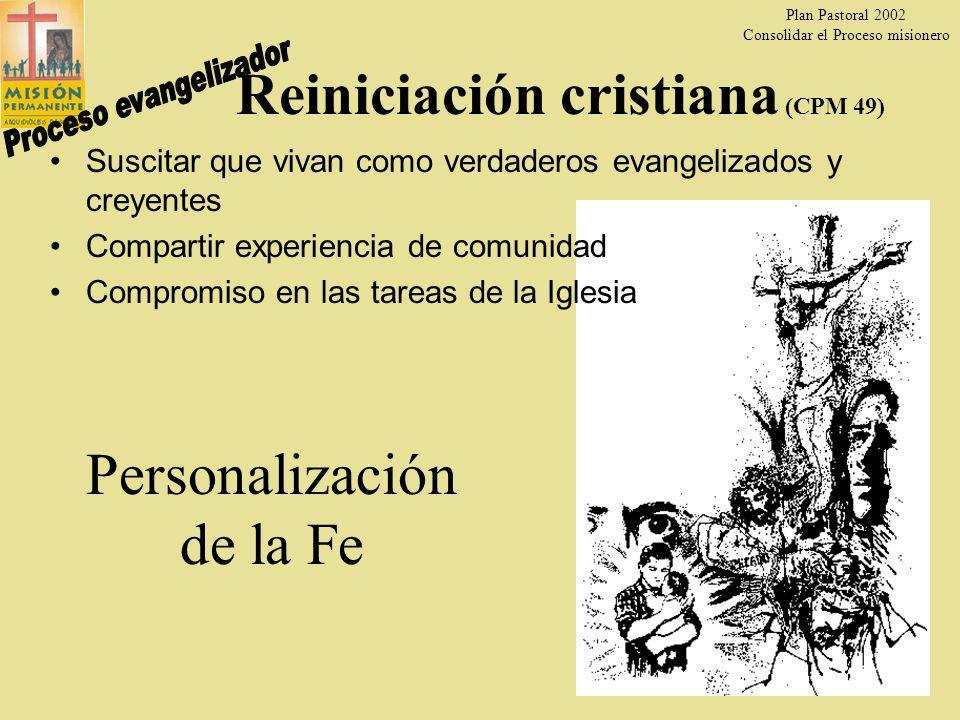 Plan Pastoral 2002 Consolidar el Proceso misionero 21 Kerigma (CPM 48) Anuncio que hacen los misioneros del amor misericordioso de Dios.