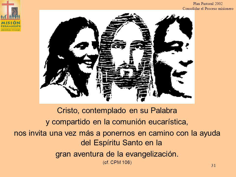 Plan Pastoral 2002 Consolidar el Proceso misionero 30 Piedad y religiosidad popular (CPM 95-102) Valorar, dinamizar y purificar las expresiones.