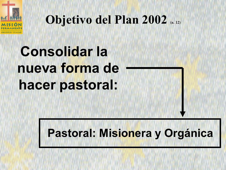 Plan Pastoral 2002 Consolidar el Proceso misionero 4 La esencia del plan arquidiocesano Evangelizar las Culturas Que los valores del Reino que inspiren la vida diaria de los habitantes de esta gran capital