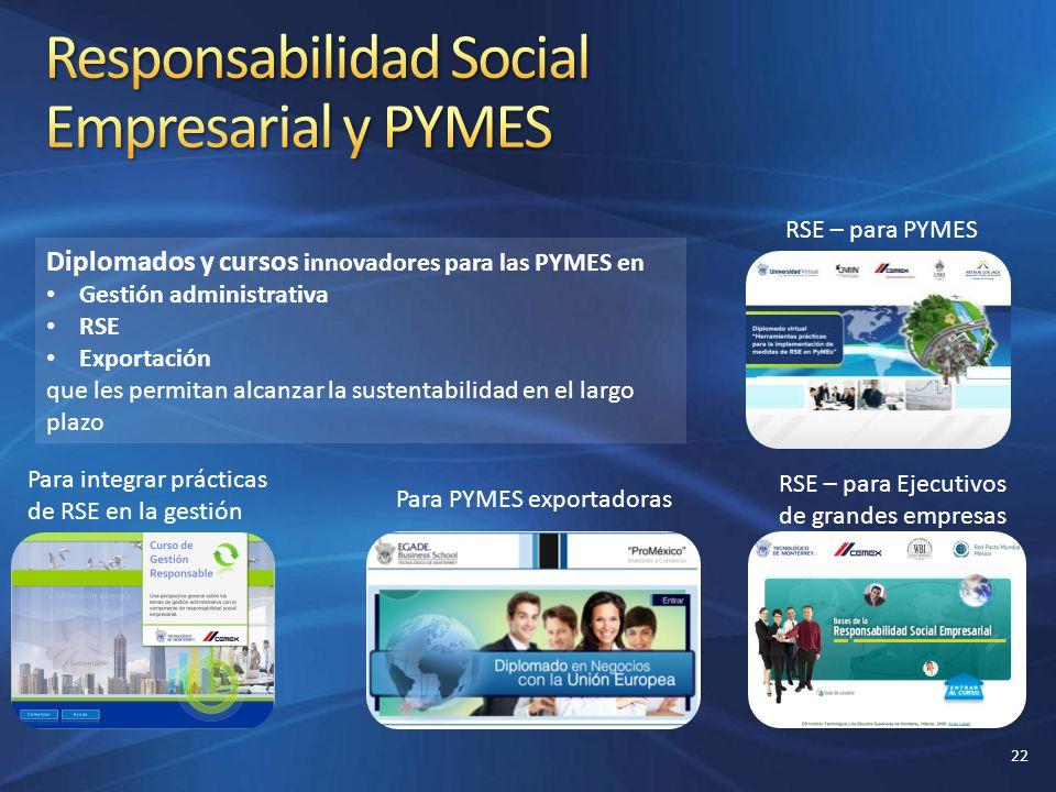 Diplomados y cursos innovadores para las PYMES en Gestión administrativa RSE Exportación que les permitan alcanzar la sustentabilidad en el largo plaz
