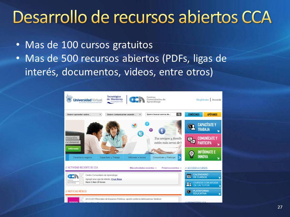 Mas de 100 cursos gratuitos Mas de 500 recursos abiertos (PDFs, ligas de interés, documentos, videos, entre otros) 27