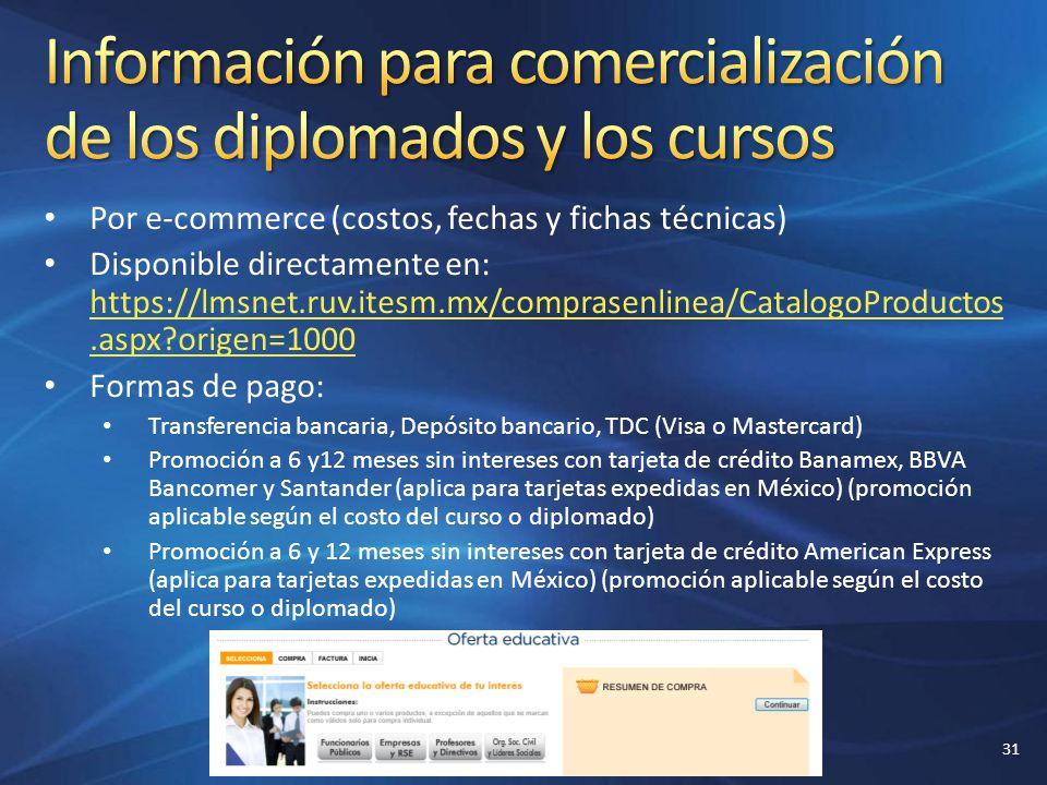 Por e-commerce (costos, fechas y fichas técnicas) Disponible directamente en: https://lmsnet.ruv.itesm.mx/comprasenlinea/CatalogoProductos.aspx?origen
