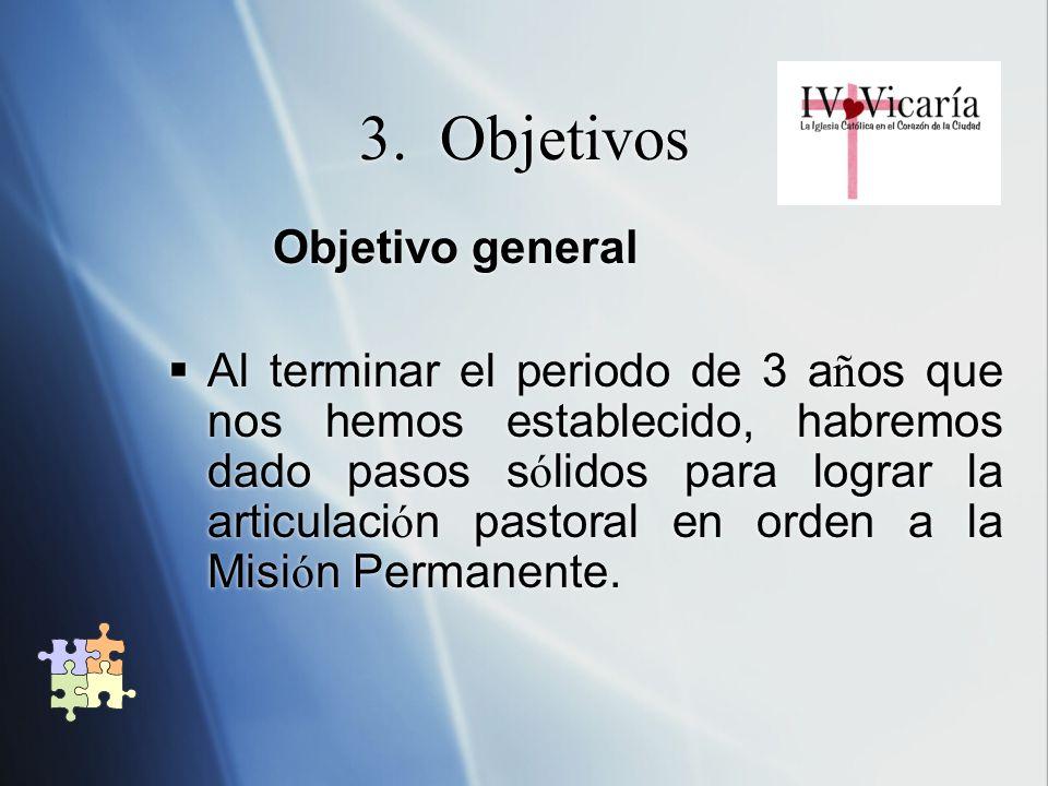 3. Objetivos Objetivo general Al terminar el periodo de 3 a ñ os que nos hemos establecido, habremos dado pasos s ó lidos para lograr la articulaci ó