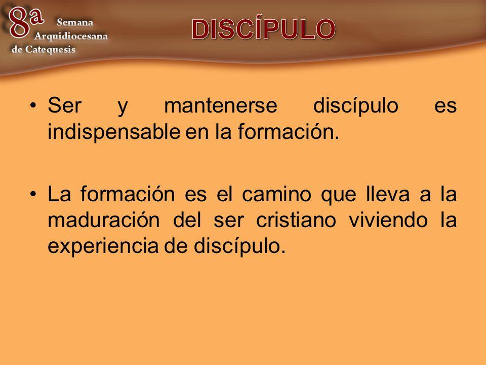 Ser y mantenerse discípulo es indispensable en la formación. La formación es el camino que lleva a la maduración del ser cristiano viviendo la experie