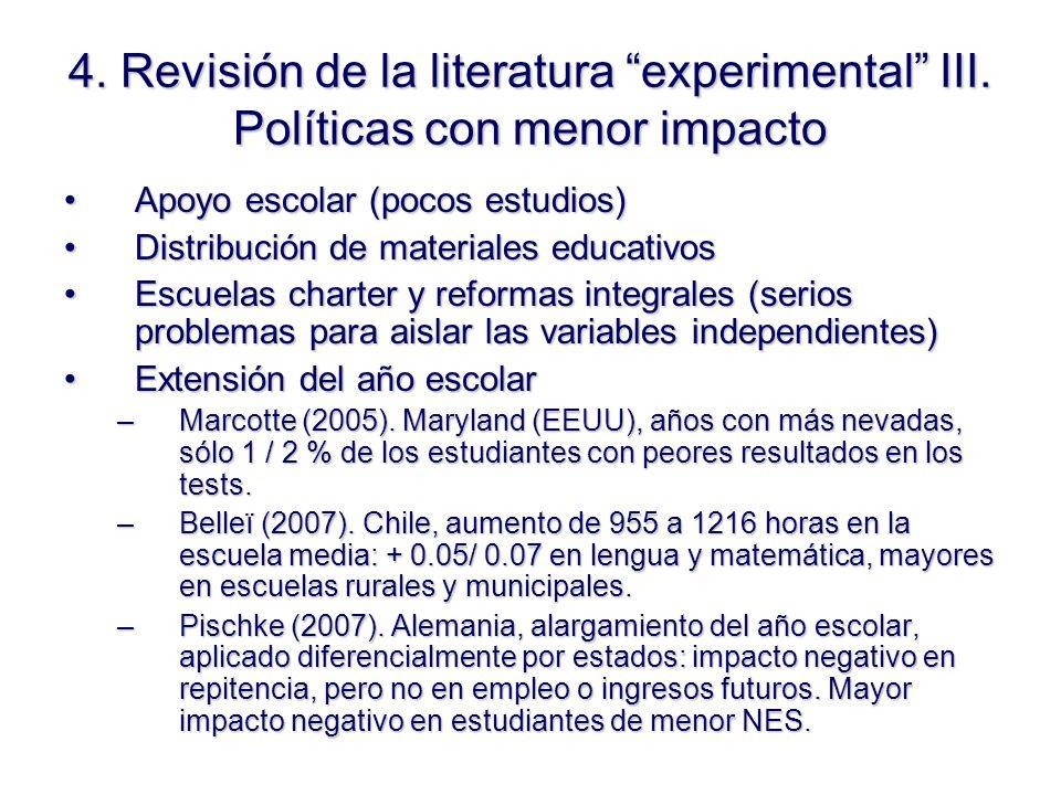 4. Revisión de la literatura experimental III.