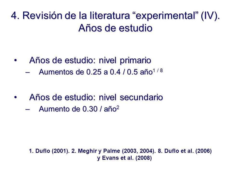 4. Revisión de la literatura experimental (IV).