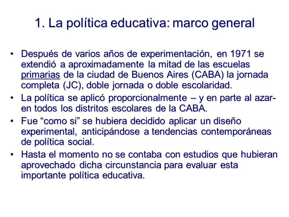 1. La política educativa: marco general Después de varios años de experimentación, en 1971 se extendió a aproximadamente la mitad de las escuelas prim