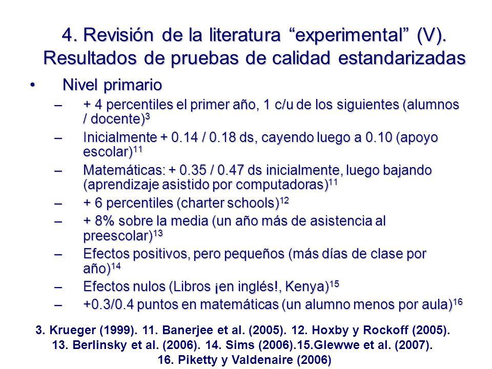 4. Revisión de la literatura experimental (V).