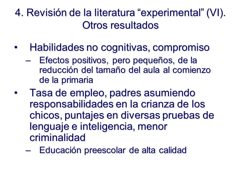4. Revisión de la literatura experimental (VI).