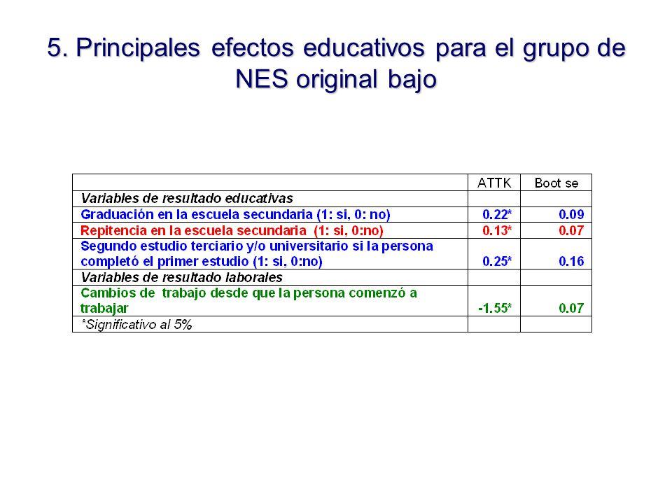 5. Principales efectos educativos para el grupo de NES original bajo
