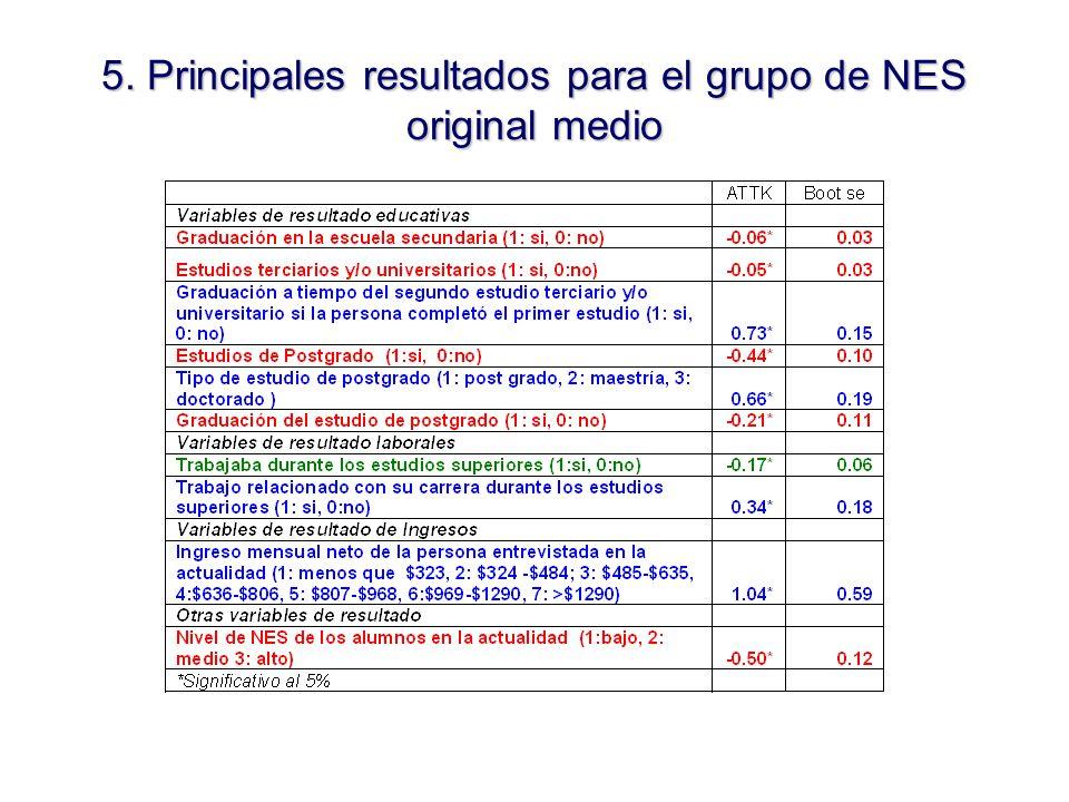 5. Principales resultados para el grupo de NES original medio