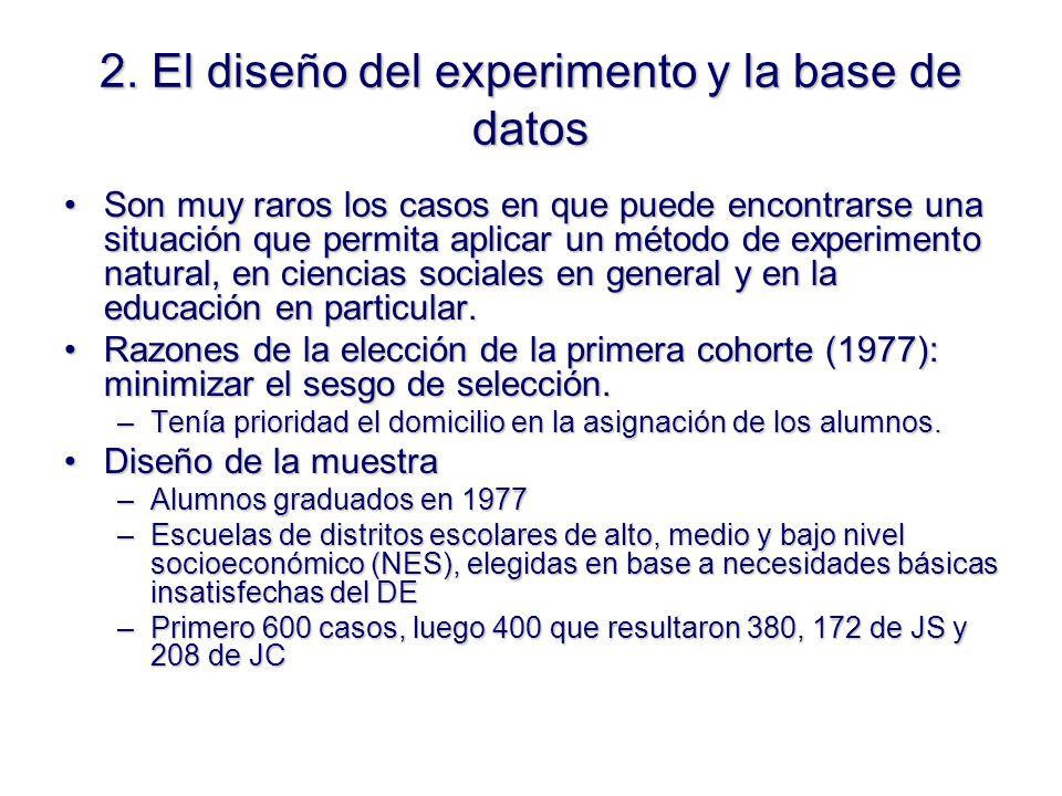 2. El diseño del experimento y la base de datos Son muy raros los casos en que puede encontrarse una situación que permita aplicar un método de experi