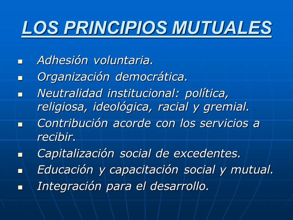 LOS PRINCIPIOS MUTUALES Adhesión voluntaria. Adhesión voluntaria. Organización democrática. Organización democrática. Neutralidad institucional: polít