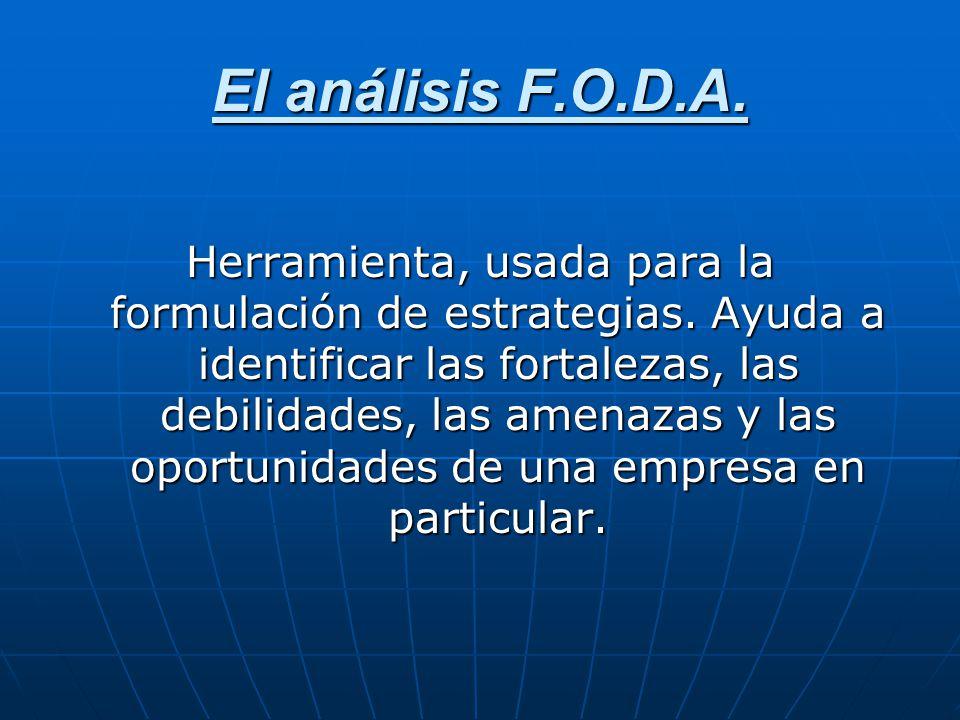 El análisis F.O.D.A. Herramienta, usada para la formulación de estrategias. Ayuda a identificar las fortalezas, las debilidades, las amenazas y las op