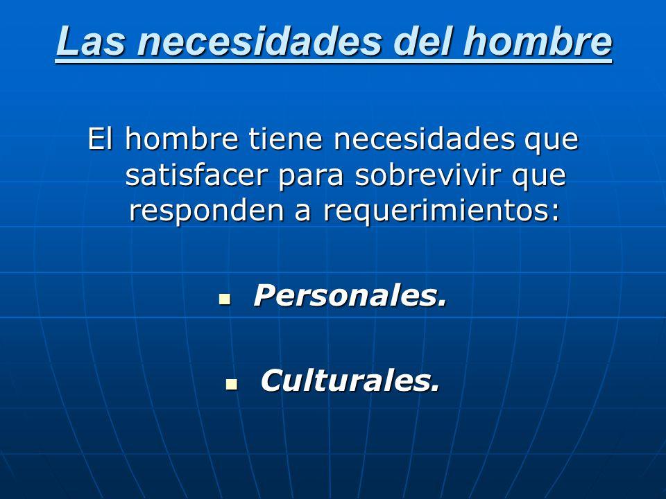 Las necesidades del hombre El hombre tiene necesidades que satisfacer para sobrevivir que responden a requerimientos: Personales. Personales. Cultural