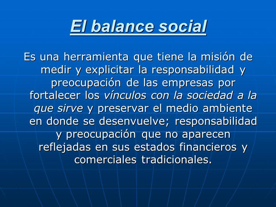 El balance social Es una herramienta que tiene la misión de medir y explicitar la responsabilidad y preocupación de las empresas por fortalecer los ví