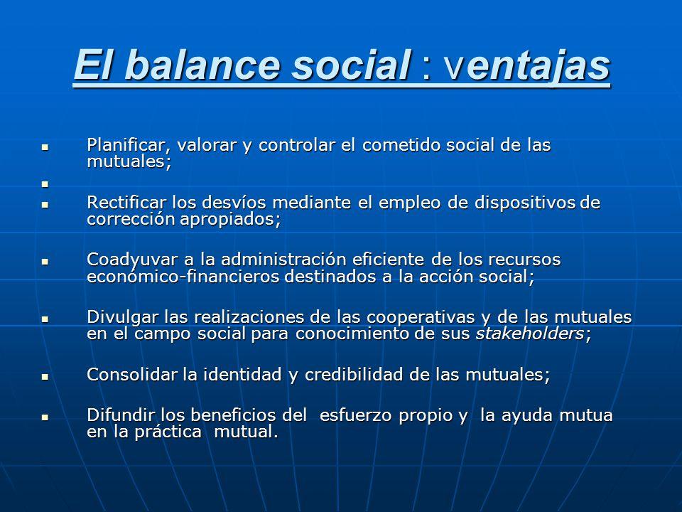 El balance social : ventajas Planificar, valorar y controlar el cometido social de las mutuales; Planificar, valorar y controlar el cometido social de