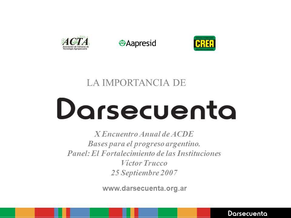 www.darsecuenta.org.ar LA IMPORTANCIA DE X Encuentro Anual de ACDE Bases para el progreso argentino. Panel: El Fortalecimiento de las Instituciones Ví