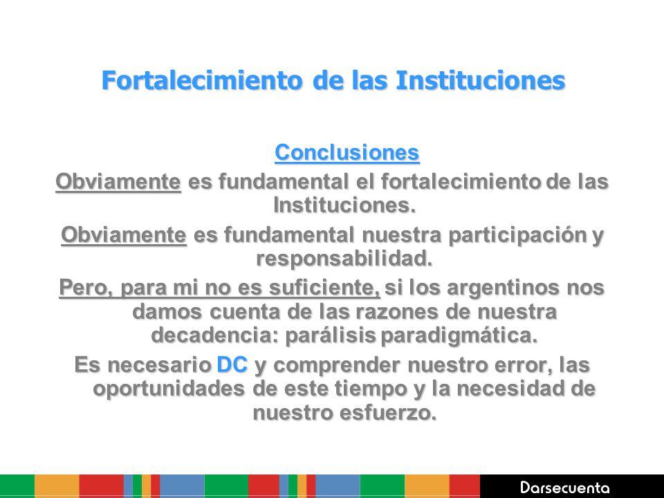 Fortalecimiento de las Instituciones Conclusiones Conclusiones Obviamente es fundamental el fortalecimiento de las Instituciones. Obviamente es fundam