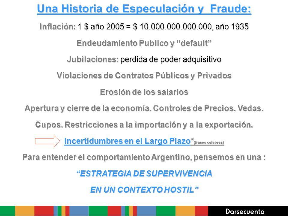 Una Historia de Especulación y Fraude: Inflación: 1 $ año 2005 = $ 10.000.000.000.000, año 1935 Endeudamiento Publico y default Jubilaciones: perdida
