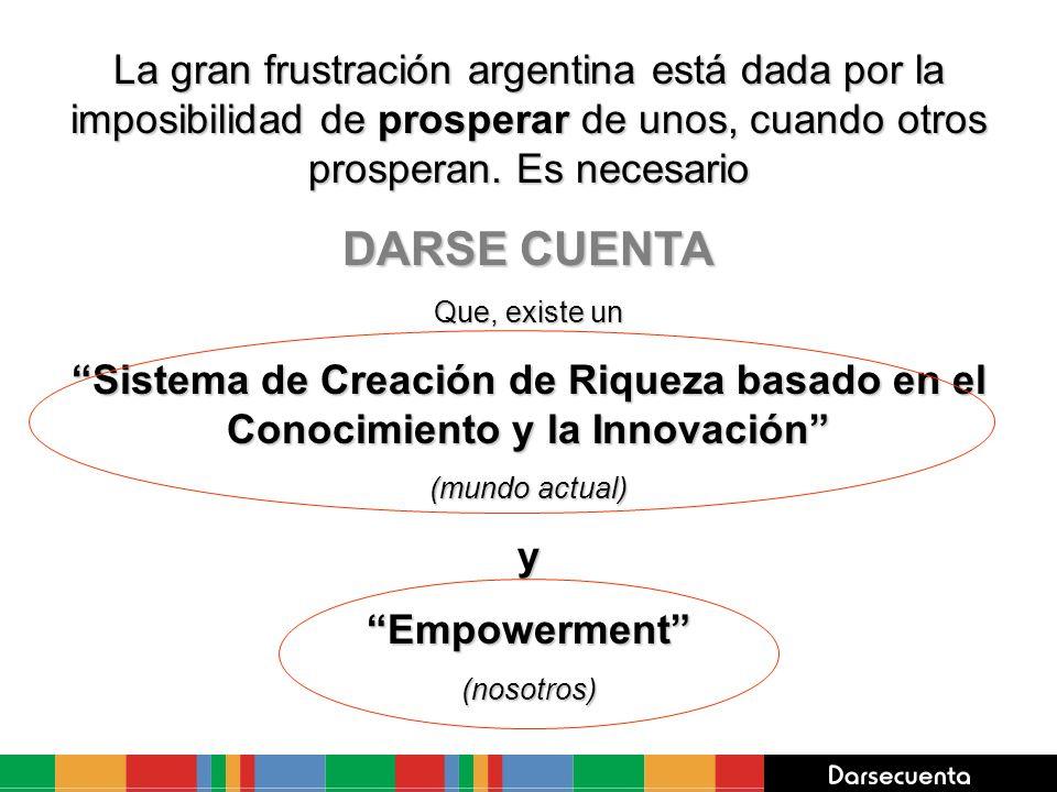 La gran frustración argentina está dada por la imposibilidad de prosperar de unos, cuando otros prosperan. Es necesario DARSE CUENTA Que, existe un Si
