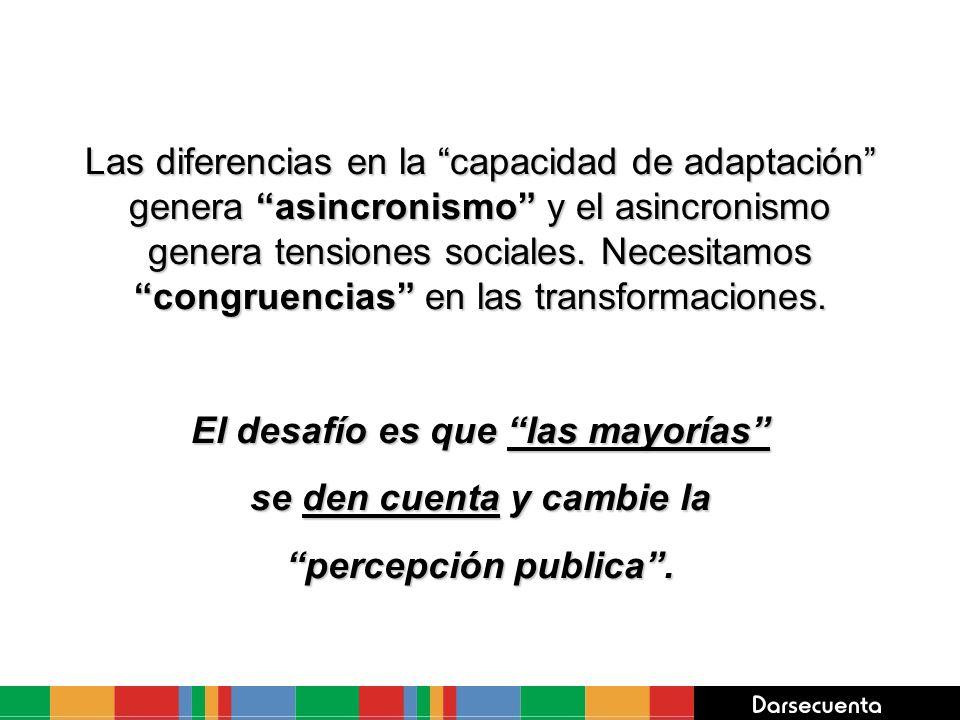 Las diferencias en la capacidad de adaptación genera asincronismo y el asincronismo genera tensiones sociales. Necesitamos congruencias en las transfo