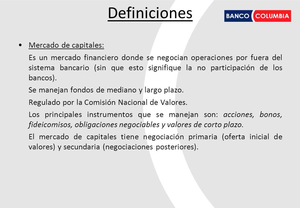 Definiciones Mercado de capitales: Es un mercado financiero donde se negocian operaciones por fuera del sistema bancario (sin que esto signifique la n