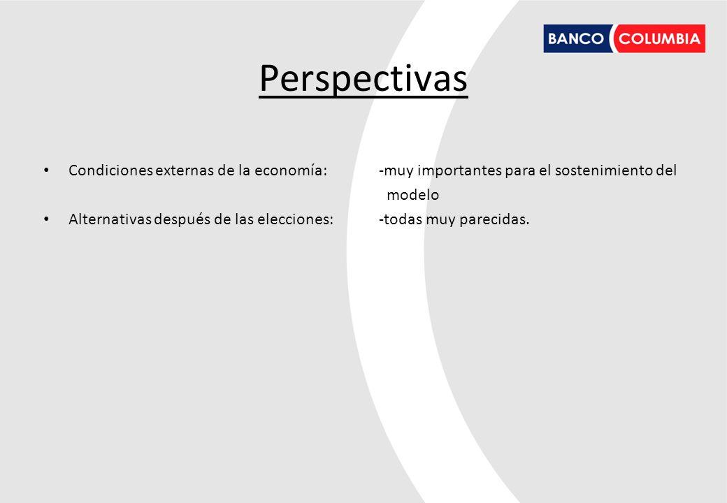 Perspectivas Condiciones externas de la economía: -muy importantes para el sostenimiento del modelo Alternativas después de las elecciones: -todas muy