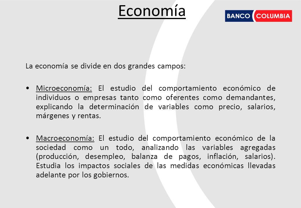 La economía se divide en dos grandes campos: Microeconomía: El estudio del comportamiento económico de individuos o empresas tanto como oferentes como