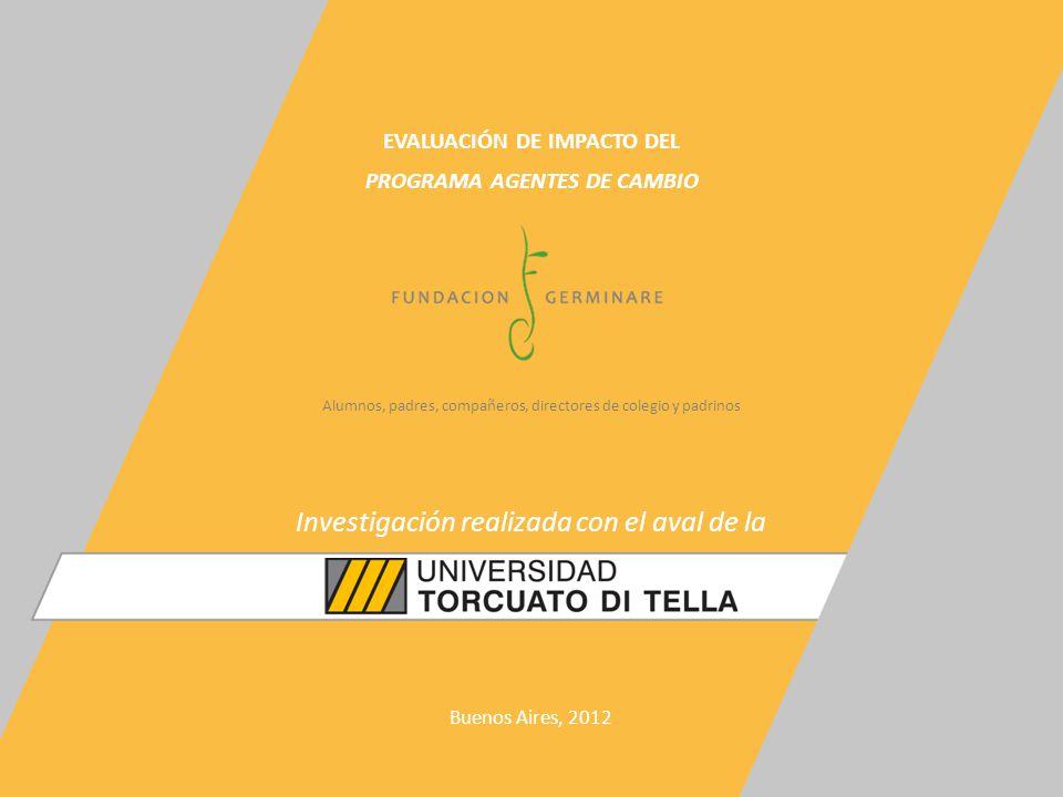 Alumnos, padres, compañeros, directores de colegio y padrinos EVALUACIÓN DE IMPACTO DEL PROGRAMA AGENTES DE CAMBIO Buenos Aires, 2012 Investigación realizada con el aval de la