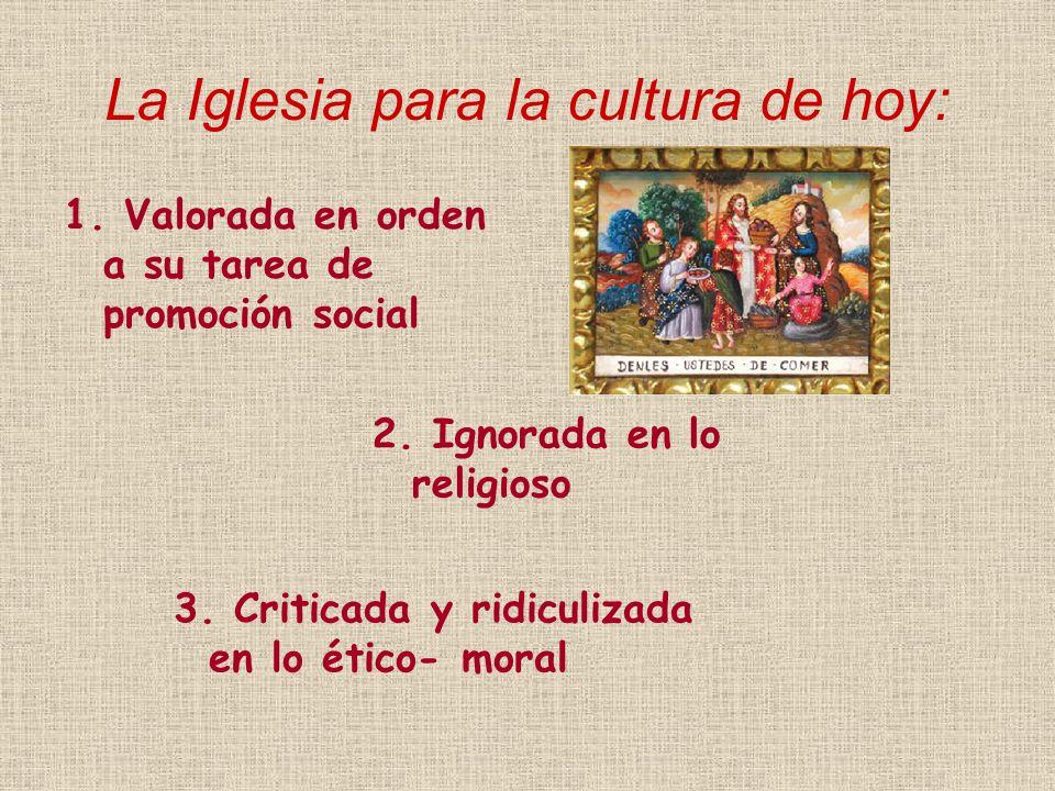 La Iglesia para la cultura de hoy: 1. Valorada en orden a su tarea de promoción social 2.