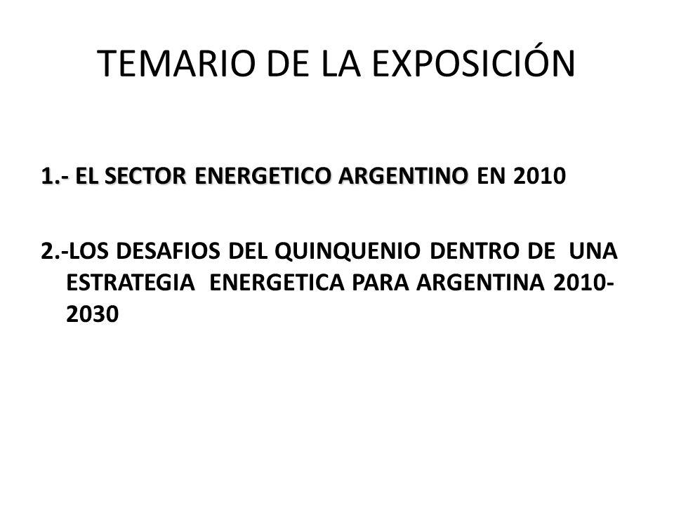TEMARIO DE LA EXPOSICIÓN 1.- EL SECTOR ENERGETICO ARGENTINO 1.- EL SECTOR ENERGETICO ARGENTINO EN 2010 2.-LOS DESAFIOS DEL QUINQUENIO DENTRO DE UNA ESTRATEGIA ENERGETICA PARA ARGENTINA 2010- 2030