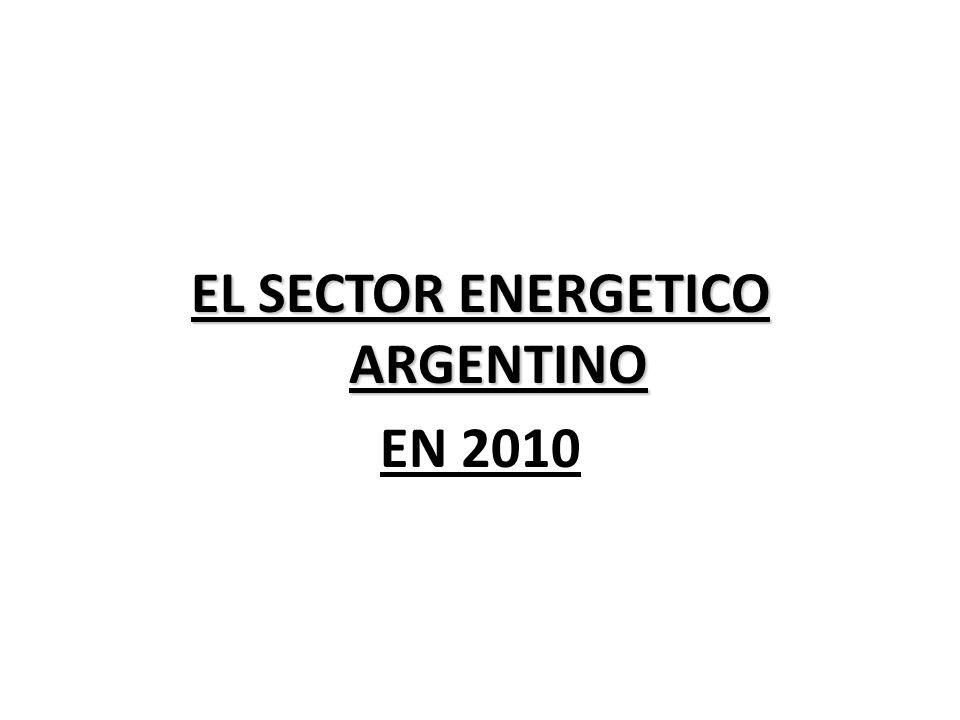 EL SECTOR ENERGETICO ARGENTINO EN 2010