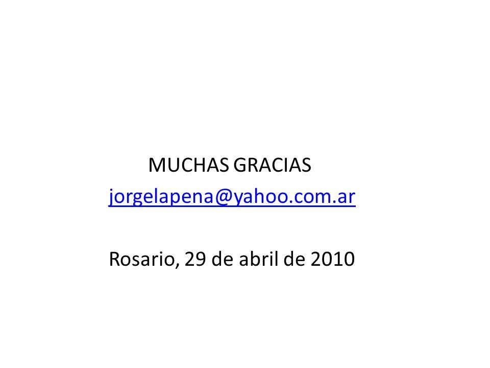 MUCHAS GRACIAS jorgelapena@yahoo.com.ar Rosario, 29 de abril de 2010