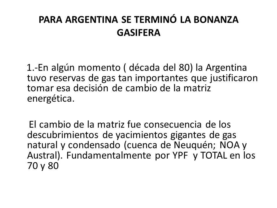 PARA ARGENTINA SE TERMINÓ LA BONANZA GASIFERA 1.-En algún momento ( década del 80) la Argentina tuvo reservas de gas tan importantes que justificaron