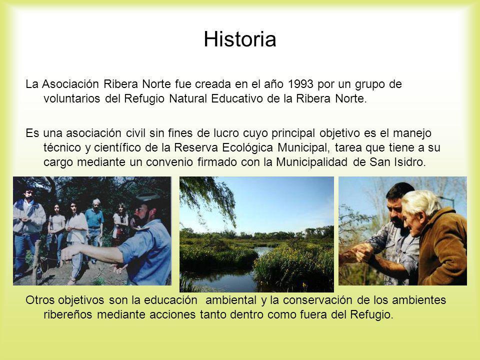 Historia La Asociación Ribera Norte fue creada en el año 1993 por un grupo de voluntarios del Refugio Natural Educativo de la Ribera Norte. Es una aso