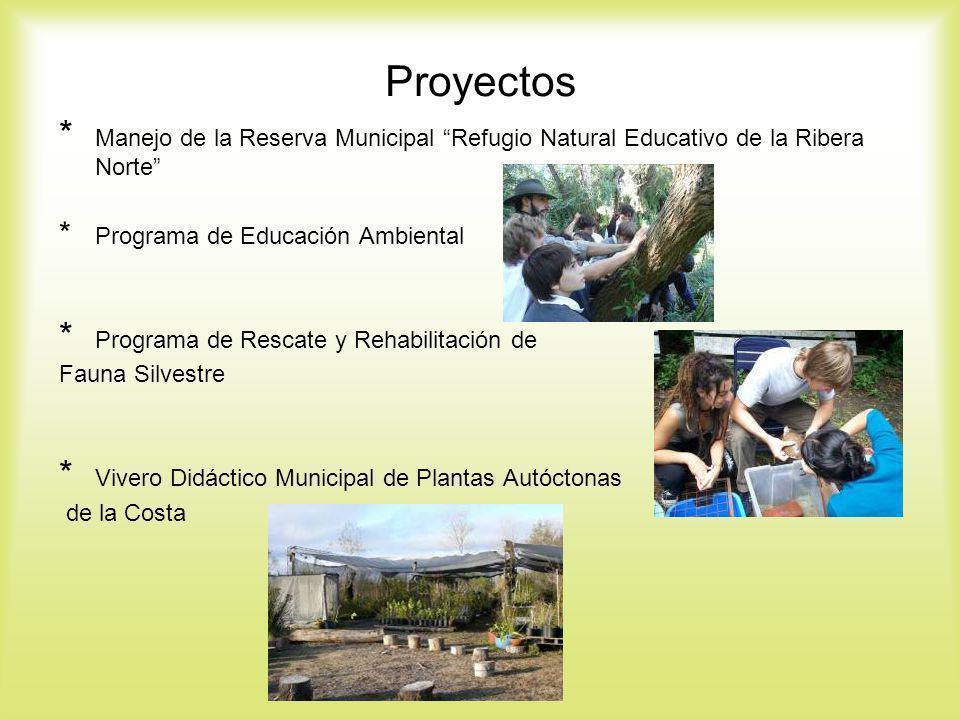 Proyectos * Manejo de la Reserva Municipal Refugio Natural Educativo de la Ribera Norte * Programa de Educación Ambiental * Programa de Rescate y Reha