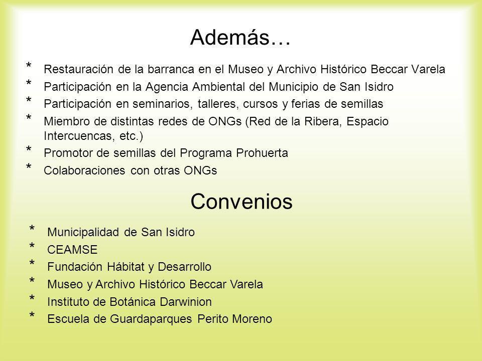 Además… * Restauración de la barranca en el Museo y Archivo Histórico Beccar Varela * Participación en la Agencia Ambiental del Municipio de San Isidr