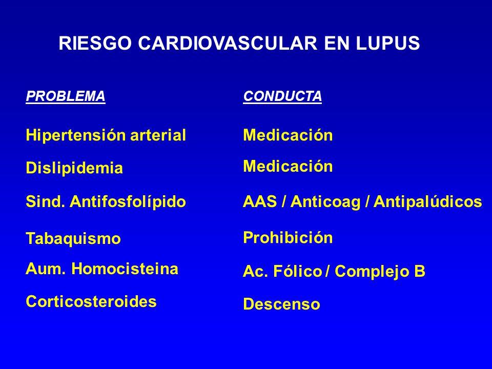 RIESGO CARDIOVASCULAR EN LUPUS Hipertensión arterial Dislipidemia Sind. Antifosfolípido Tabaquismo Medicación Prohibición Ac. Fólico / Complejo B Desc