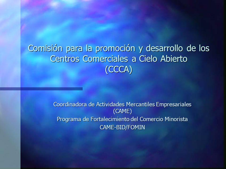 Comisión para la promoción y desarrollo de los Centros Comerciales a Cielo Abierto (CCCA) Coordinadora de Actividades Mercantiles Empresariales (CAME) Programa de Fortalecimiento del Comercio Minorista CAME-BID/FOMIN