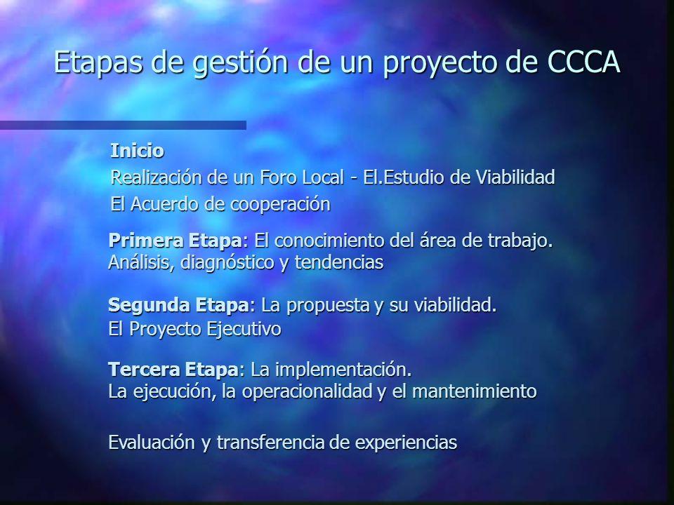 Etapas de gestión de un proyecto de CCCA Inicio Realización de un Foro Local - El.Estudio de Viabilidad El Acuerdo de cooperación Primera Etapa: El conocimiento del área de trabajo.