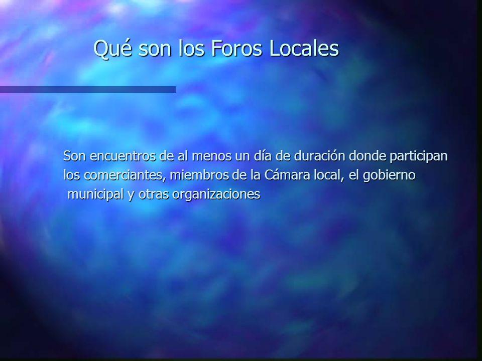 Qué son los Foros Locales Son encuentros de al menos un día de duración donde participan los comerciantes, miembros de la Cámara local, el gobierno municipal y otras organizaciones municipal y otras organizaciones