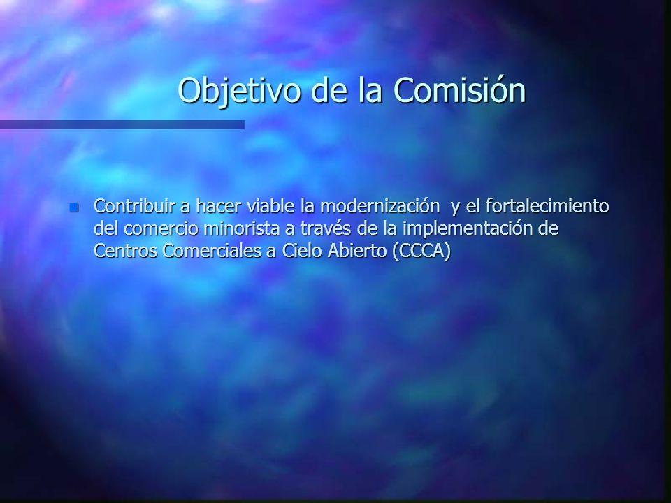 Objetivo de la Comisión n Contribuir a hacer viable la modernización y el fortalecimiento del comercio minorista a través de la implementación de Centros Comerciales a Cielo Abierto (CCCA)
